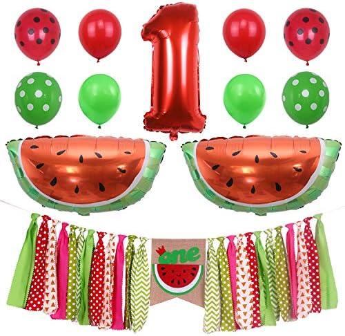 ONINIT スイカ 赤ちゃん 男の子 女の子 1歳の誕生日パーティーデコレーション メロンの1つ 夏のピクニックに最適 1歳の誕生日パーティーの写真小道具 ハイチェアバナー ホイルバルーン ラテックスバルーン