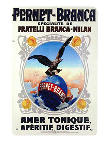 (WholesaleSarong Fernet Branca Milan Eagle Globe Italy Liquor tin Metal Sign Reproduction Signs Swirl Wall Decor)
