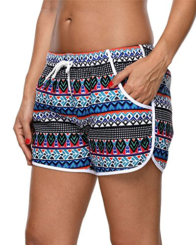 (ALove Women Tribal Board Shorts Solid Swim Trunks Bathing Suits Shorts XXL)