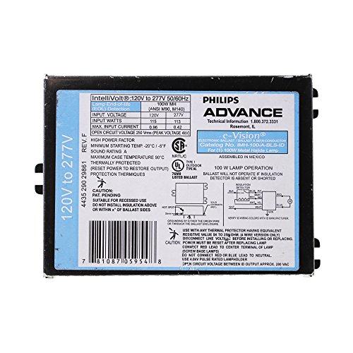 (Advance e-Vision IMH-100-A-BLS-ID - 100 Watt - Pulse Start - Metal Halide Ballast - 120/277 Volt - ANSI M90/M140 - Power Factor 90% - Max. Temp. Rating 194 Deg. F)