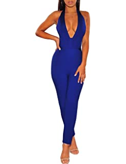 b65dd183b8a9 UONBOX Women s Deep V Neck Halterneck Bodycon Night Club Jumpsuit Romper  Pants