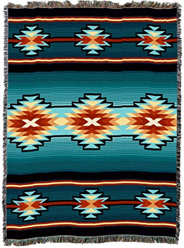 Pure Country Cotton Tapestry - Pure Country Weavers | Aydin Southwest Blanket | Woven Tapestry Camp Throw with Fringe Cotton USA 72x54