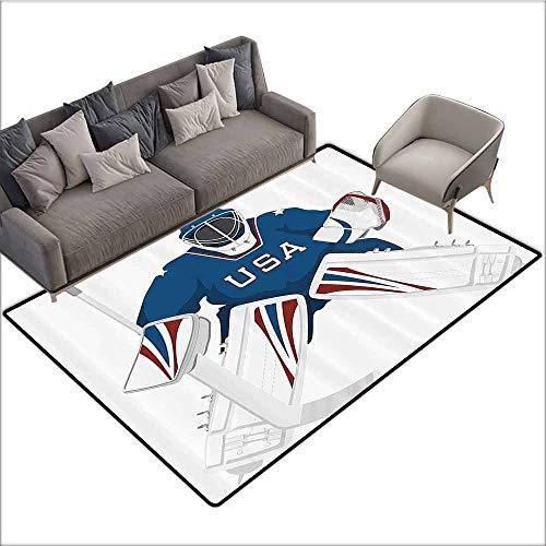 Thin Non-Slip Kitchen Bathroom Carpet Colorful Sports Decor Collection,Team USA Hockey Goalie Protection Jersey Sportswear Illustrations Design Print,Burgundy Blue White 64