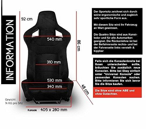 2 asientos deportivos para automóvil, asientos de carreras, de piel sintética de imitación Alcantara, negro: Amazon.es: Coche y moto