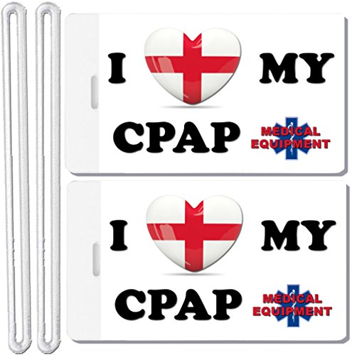2x Medical Equipment Luggage Tag I Love My CPAP Respiratory Devices CPAP BiPAP VPAP AUTOPAP (Cpap Medical Equipment Carry On Luggage Tag)