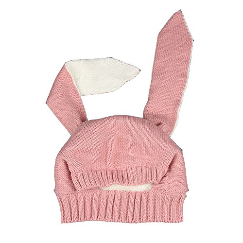 Spring Fever Baby's Winter Warm Beanie Hat Fleece Lining Super Soft and Cute Crochet Bunny Earcap- Pink One Size