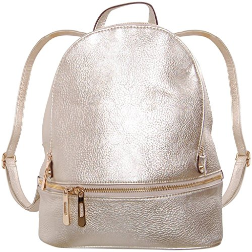 Humble Chic Vegan Leather Backpack Purse Small Fashion Travel School Bag Bookbag, Champagne Gold, (Metallic Designer Purse)