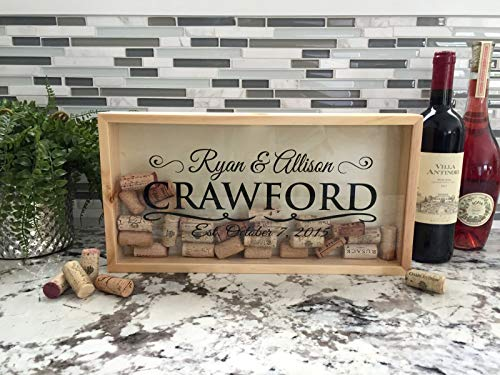 (Qualtry Personalized Wedding Gifts, Rustic Wedding Gift for The Groom and for Her - Wall Mounted Monogram Wine Cork Shadow Box Holder Display (16.25