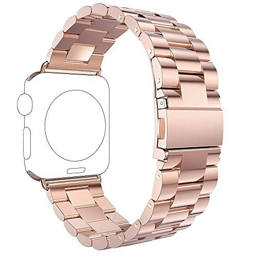 For Apple iWatch Band 42MM, Rosa Schleife Apple Watch Band 42mm Stainless Steel Smart Watch Replacement Bands with Metal Clasp Buckle Bracelet for Apple Watch Sport & Edition (Rose Gold)