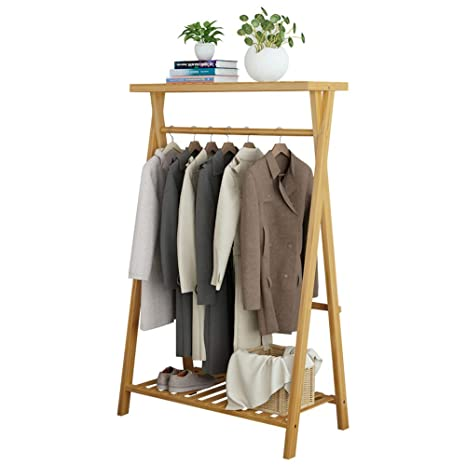 Amazon.com: NPZ Wooden Coat Rack,Coat Rack Bamboo Bedroom ...