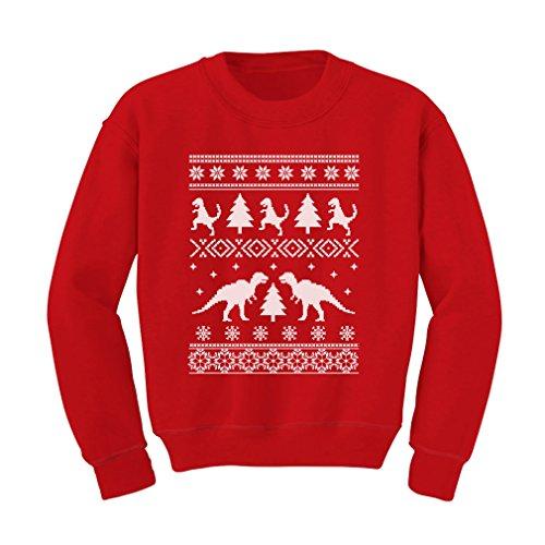 TeeStars - Ugly Christmas Sweater Trex Kids Sweatshirt Medium Red (Kids Ugly Christmas Sweater)