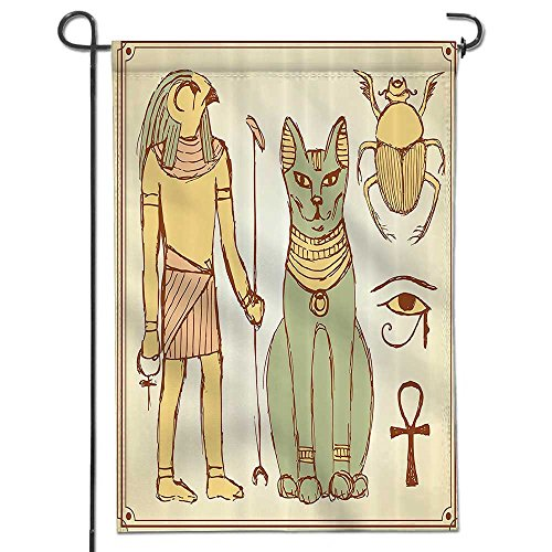 """Philiphome Memorial Garden Flags Graphic of Ancient Egyptian Religion Gods Icons with Cat Goddess in Retro Color Fabric Holiday Decoration Double Sided Flag-12"""" x 18"""""""
