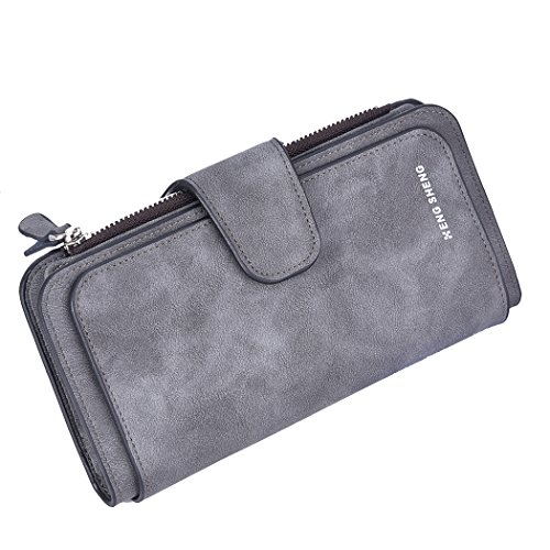 PGXT Women's Long Mattee Leather Multi Credit Card Holder Purse Zipper Buckle Elegant Clutch Wallet With Coin Pocket, Dark Gray
