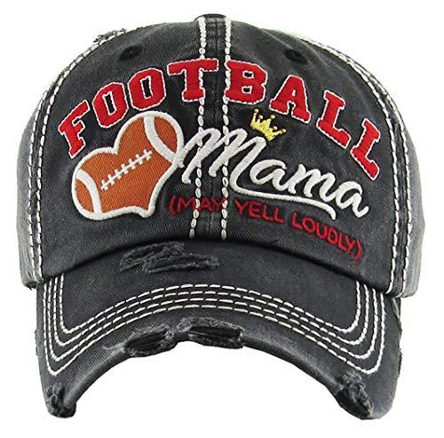 H-212-FM06 Distressed Baseball Cap Vintage Dad Hat - Football Mama -