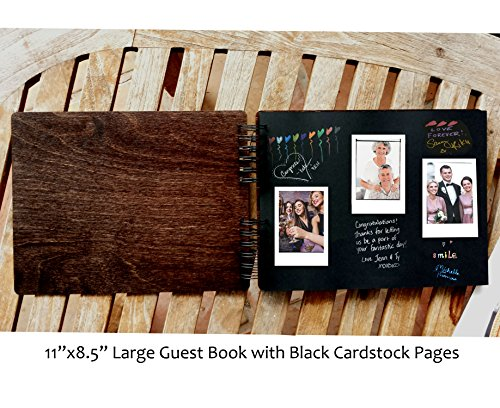 Wooden Rustic Guest Book 11'' x 8.5'' : Made in USA (All Black Cardstock Inside Pages, Front Cover GUESTBOOK Engraved) by Personalize It (Image #7)