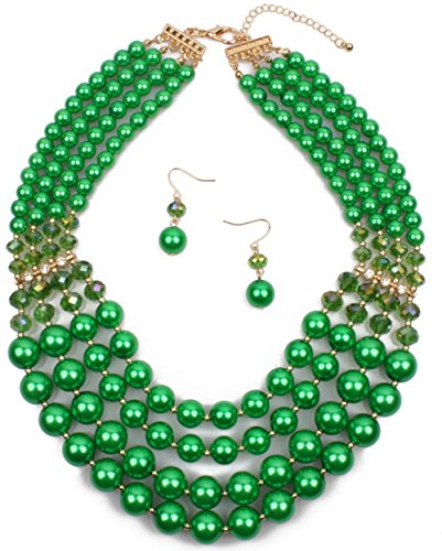 Shineland Elegant Multi-Strand Pearl Glass Crystal Cluster Collar Bib Choker Necklace EarringSets (4 Layered Green)