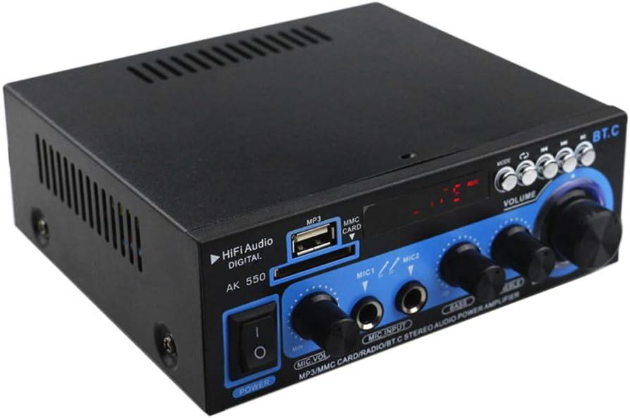 Mini amplificador de potencia de audio BT Receptor de audio digital AMP USB Ranura SD Reproductor de MP3 Radio FM Pantalla LCD Entrada de micr/ófono dual con control remoto Canal dual 30W 30W para