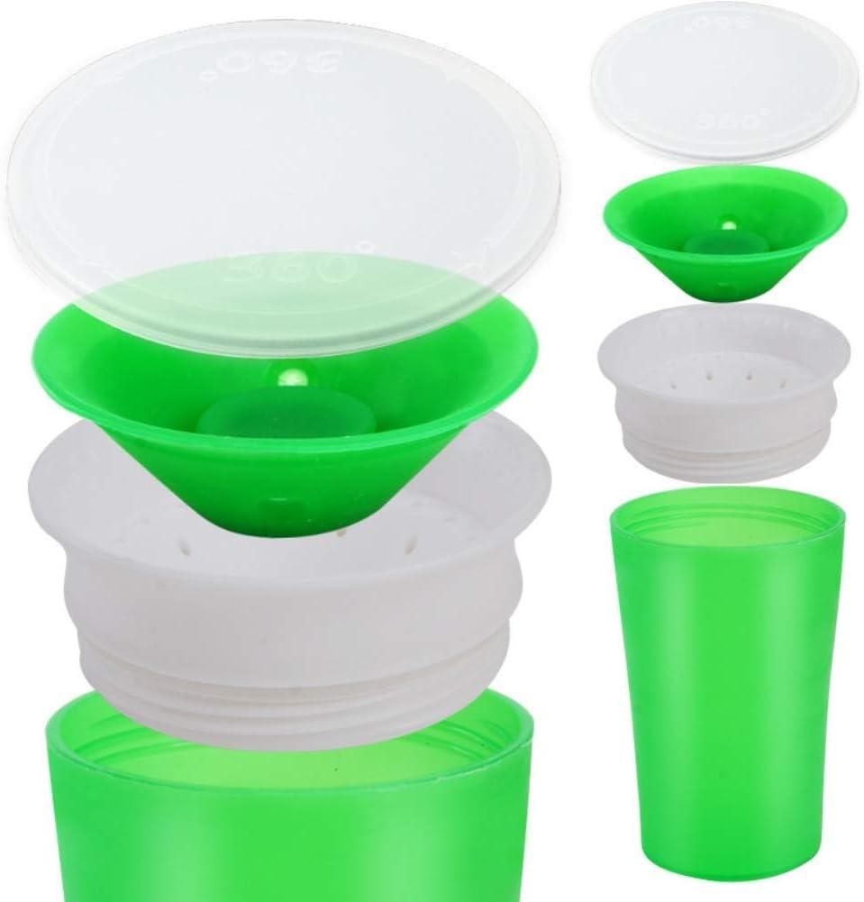 Ogquaton //360 degr/és /étanche double poign/ée b/éb/é apprentissage eau potable tasse de bouteille vert haute qualit/é