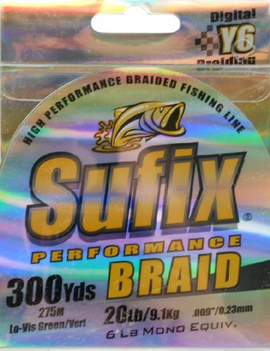 Sufix Performance Braid 20 lb (Green, Size- 300 YD Spool)