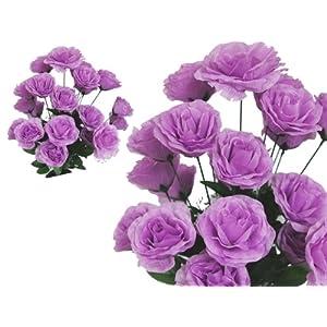 BalsaCircle 96 18 Colors Silk Giant Open Roses - 4 Bushes - Artificial Flowers Wedding Party Centerpieces Arrangements Bouquets Supplies 120