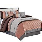 Clory Rose, Brown, Silver Gray King Size Luxury 7 Piece Comforter Set Includes Comforter, Skirt, Throw Pillows, Pillow Shams