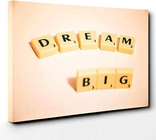 Lienzo de pie y figuras Dream Big Scrabble, madera, multicolor, 101 x 71 x 3 cm: Amazon.es: Hogar