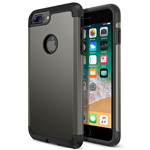 iPhone 8 Plus Case, Trianium Protanium Apple iPhone 8Plus Case (2017) with Heavy Duty Protection/Shock Absorption/Dual Layer TPU + Rigid Back Armor/Anti-Scratch/Reinforced Corner -Gunmetal