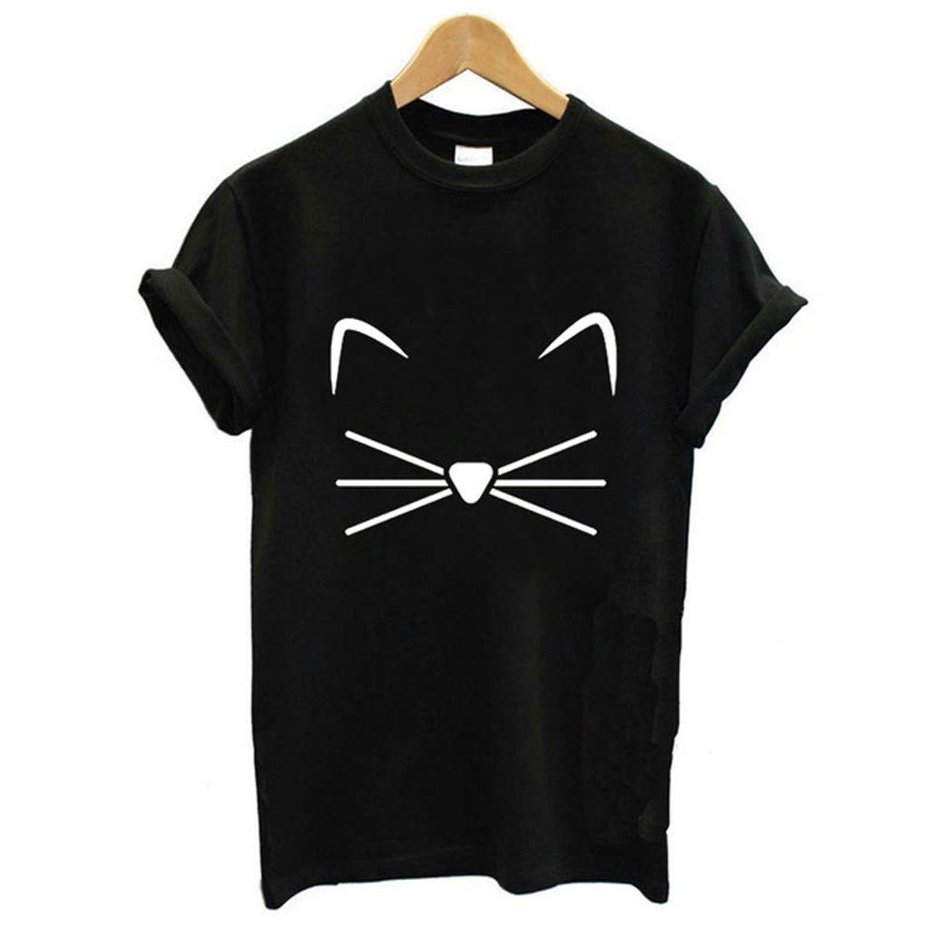 Huazi2 Women's Plus Size Round Neck Cat T-shirt Top Tees