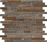 M S International Rustic Creek Interlocking 12 In. X 8 mm Metal Stone Mesh-Mounted Mosaic Tile, (10 sq. ft., 10 pieces per case)