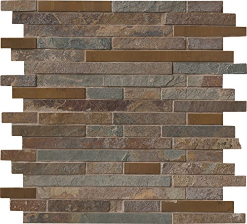stic Creek Interlocking 12 In. X 8 mm Metal Stone Mesh-Mounted Mosaic Tile, (10 sq. ft, 10 pieces per case) (Rustic Gold Slate)