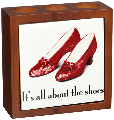 (3dRose ph_108339_1 Its All About The Shoes, Ruby Slippers Wizard of Oz-Tile Pen Holder, 5-Inch)