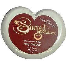 Sacred Chocolate HOLY CACOW Maple Sweetened, Stone-Ground, Organic RAW Chocolate 51% Cacao 1.44oz Bar (12 Pack)