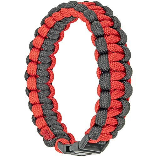 Southern Homewares Paracord Survival Bracelet Accessory, Red & Black Multipurpose Wristband Tool/Jewelry, Multicolored