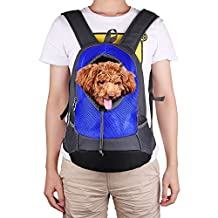 Pet Dogs Front Backpack, Outdoor Hands-free Adjustable Shoulder Strap Cat Puppy Tote Holder Travel Carrier Bag for Walking, Hiking, Bike and Motorcycle Pet Travel Accessories (Blue)