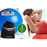 Anti-burst Inflatable Gym Ball with Pump and Bag(3 Piece Set)