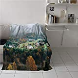 WodCht Appalachian Trail Blanket Chair,Aerial Photo of Forest Village Houses in Autumn Foggy Panorama Print,Plush Throw Blanket,Microfiber All...