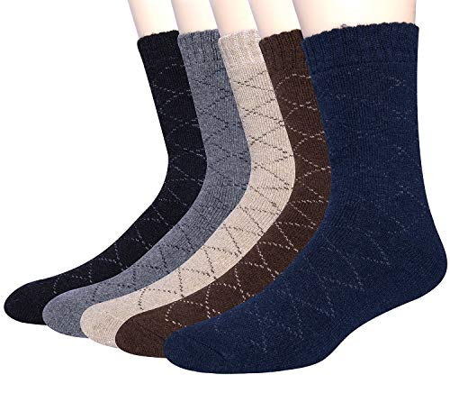 5 Pack Mens Winter Soft Warm Wool Knitting Cotton Casual Crew Socks (Style I(5 pack))