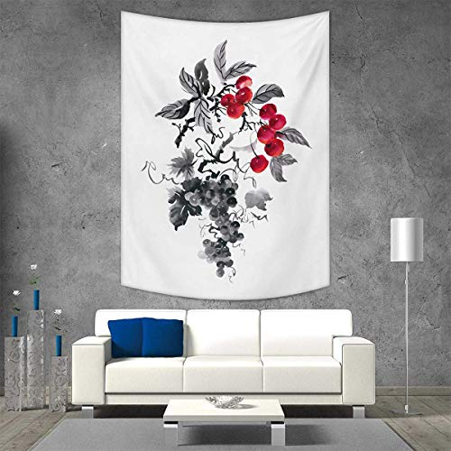 (smallbeefly Rowan Customed Widened Tapestry Rural Nature Inspired Artistic Foliage Composition Wild Berry Plant Leaves Wall Hanging Tapestry 60W x 80L INCH Grey Ruby Black)