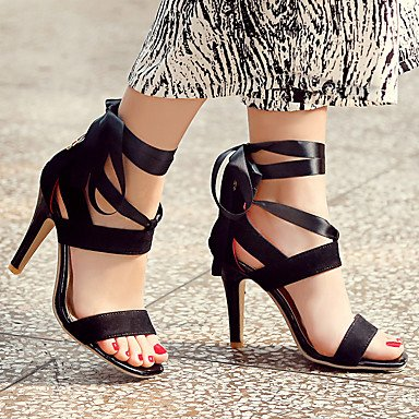 Sandalias Primavera Verano Otoño comodidad PU Parte & vestido de noche casual Stiletto talón Lace-up negro azul rojo púrpura Black