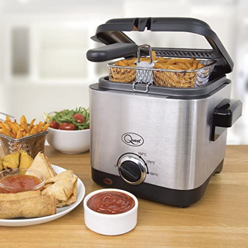 Quest 34250 Brushed Square Deep Fat Fryer Compact, Non Stick Coating, Stainless Steel, 1.5 Litre, 900W