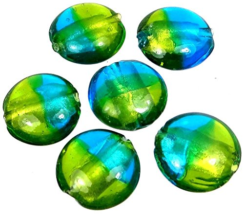 Loose Beads 20mm Lampwork Handmade Glass Beads Silver Foil See Green Blue Lentil (6) Jewellery Maker Crafts