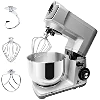 Stand Mixer, POSAME 600W Professional Kitchen Mixer with 5-Quart Stainless Steel Bowl, 6-Speed Dough Mixer with Dough Hook, Whisk, Beater