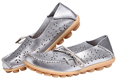 Shoes UJoowalk Loafer Casual Out Hollow Flat Women's Silver wq7xBw6