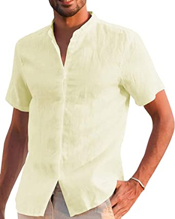Mens Cotton Linen Short Sleeve T-Shirts Summer Casual Button Down Blouse Tops CO