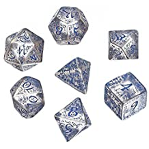 Custom & Unique {Standard Medium} 7 Ct Pack Set of [D4, D6, D8, D10, D12, D20] Assorted Polyhedral Shapes Playing & Game Dice w/ Mythical Elven Font Font Design [Clear & Blue Colored] by mySimple Products
