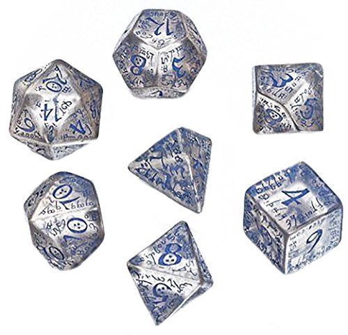 Custom Dice - Custom & Unique {Standard Medium} 7 Ct Pack Set of [D4, D6, D8, D10, D12, D20] Assorted Polyhedral Shapes Playing & Game Dice w/ Mythical Elven Font Font Design [Clear & Blue Colored]