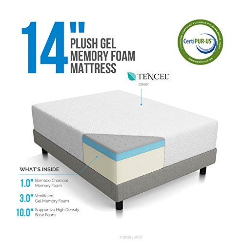 LUCID 14 Inch Plush Memory Foam Mattress - Ventilated Gel Memory Foam + Bamboo Charcoal Infused Memory Foam - CertiPUR-US Certified - 10-Year Warranty - Twin