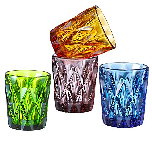 Vintage Old Fashioned Glasses,10 oz Set of 4 Cocktail Glasses with Diamond Pattern,Colored Glass Tumblers for Liqueur…