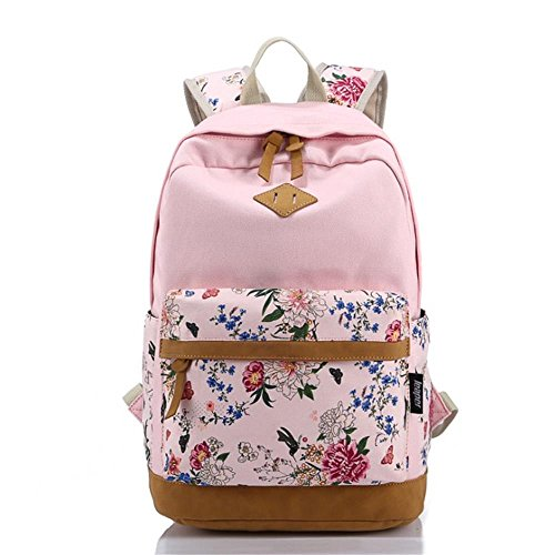 Korean Style Canvas Flower Floral Casual Daypacks College Student Satchels, Pink