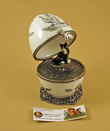 Authentic French Porcelain Hand Painted Limoges box Musical Egg with Black Cat ()